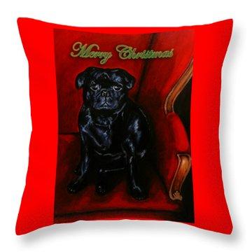 Puggsley Christmas Throw Pillow