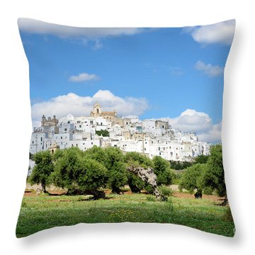 Puglia White City Ostuni With Olive Trees Throw Pillow