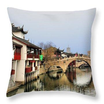Puhuitang River Bridge Qibao - Shanghai China Throw Pillow by Christine Till