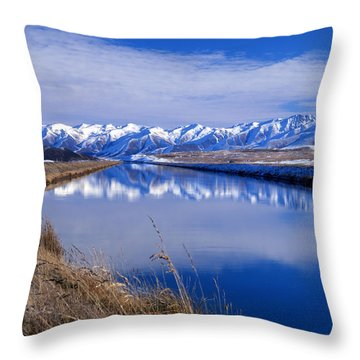 Pukaki Canal, Canterbury, New Zealand Throw Pillow
