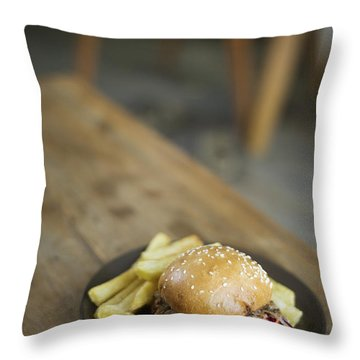 Pulled Pork Bun With Fries Throw Pillow