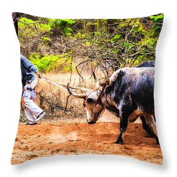 Pulling The Beasts Throw Pillow by Rick Bragan