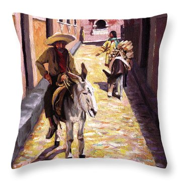 Pulling Up The Rear In Mexico Throw Pillow by Nancy Griswold