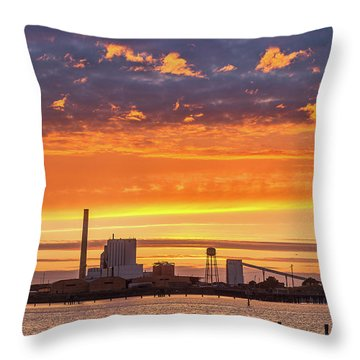 Throw Pillow featuring the photograph Pulp Mill Sunset by Greg Nyquist