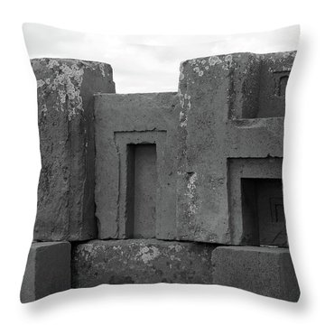 Puma Punku H Blocks, Bolivia Throw Pillow