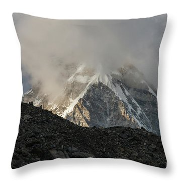 Throw Pillow featuring the photograph Pumori Dusk Light by Mike Reid
