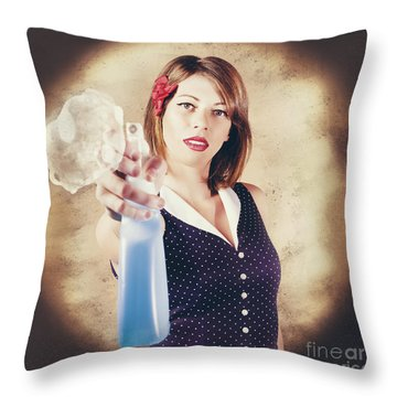 Pump Action Pin Up Woman Killing Glass Grime Throw Pillow