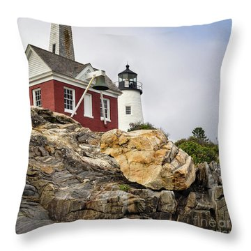 Pumphouse And Tower, Pemaquid Light, Bristol, Maine  -18958 Throw Pillow