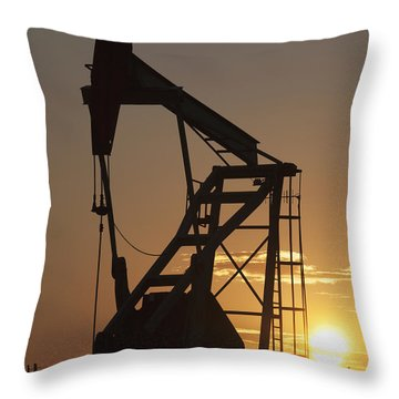 Pumpjack Silhouette Throw Pillow by Michael Interisano