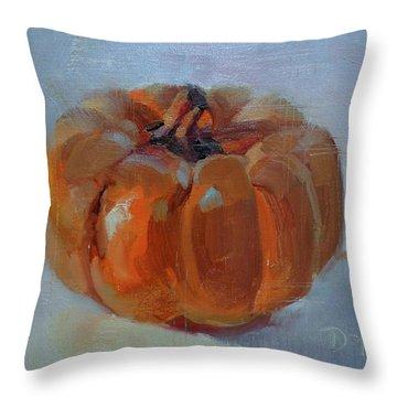 Pumpkin Alone  Throw Pillow by Donna Shortt