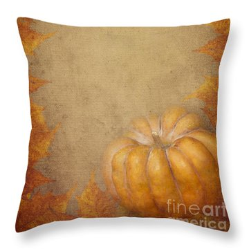 Pumpkin And Maple Leaves Throw Pillow