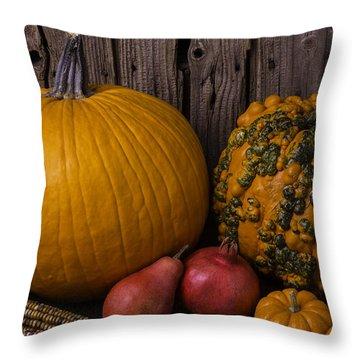 Pumpkin Autumn Still Life Throw Pillow