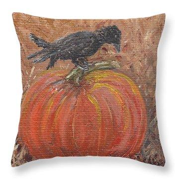 Pumpkin Crow Throw Pillow