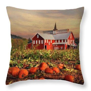 Pumpkin Farm Throw Pillow by Lori Deiter