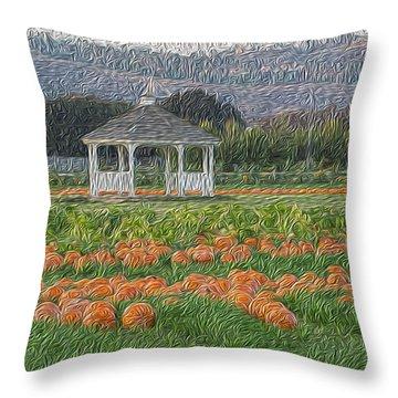 Pumpkin Field Throw Pillow