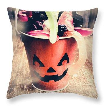 Pumpkin Head In A Misty Halloween Scene Throw Pillow
