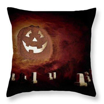 Pumpkin Moon Over Floating Gravestones Throw Pillow