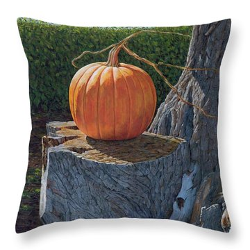 Pumpkin On A Dead Willow Throw Pillow
