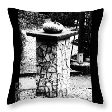 Pumpkin On A Pedestal Throw Pillow by Mimulux patricia no No