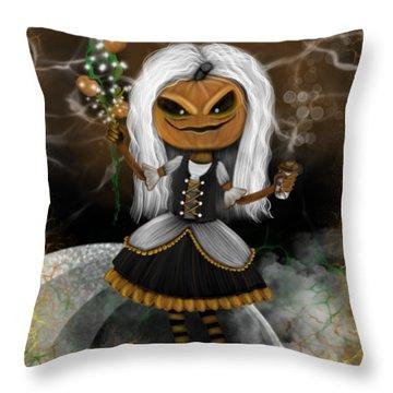 Pumpkin Spice Latte Monster Fantasy Art Throw Pillow