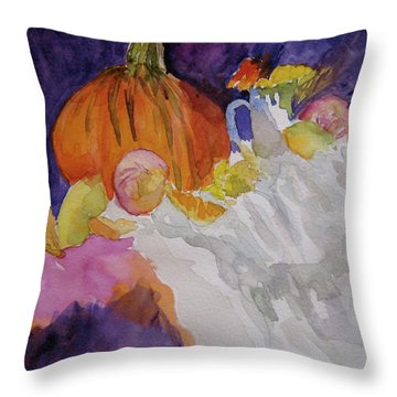 Throw Pillow featuring the painting Pumpkin Still Life by Beverley Harper Tinsley