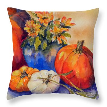 Pumpkins And Blue Vase Throw Pillow