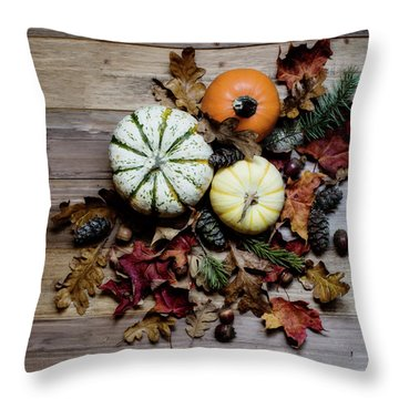 Pumpkins And Leaves Throw Pillow