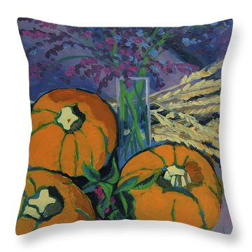 Throw Pillow featuring the painting Pumpkins And Wheat by Erin Fickert-Rowland