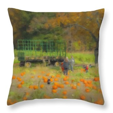 Pumpkins At Langwater Farm Throw Pillow