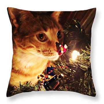 Pumpkin's First Christmas Tree Throw Pillow by Kathy M Krause