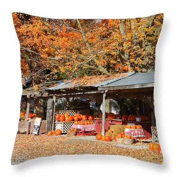 Pumpkins For Sale Throw Pillow by Louise Heusinkveld