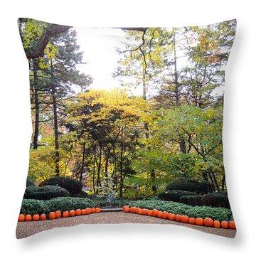 Pumpkins In A Row Throw Pillow by Teresa Schomig