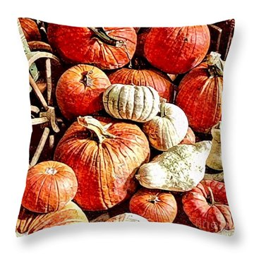 Pumpkins In The Barn Throw Pillow by MaryLee Parker