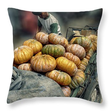 Throw Pillow featuring the photograph Pumpkins In The Cart  by Charuhas Images