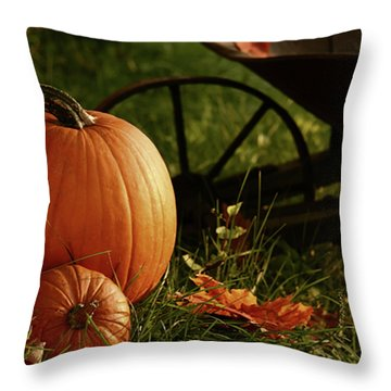 Pumpkins In The Grass Throw Pillow
