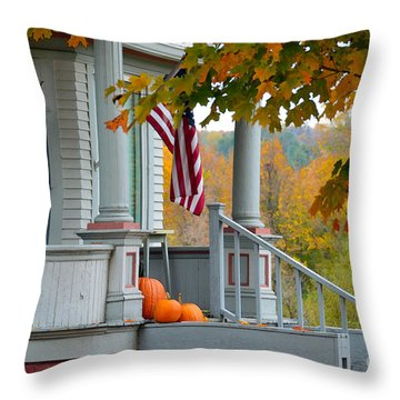 Pumpkins On A Vermont Porch Throw Pillow by Catherine Sherman