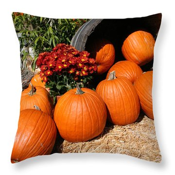 Throw Pillow featuring the mixed media Pumpkins- Photograph By Linda Woods by Linda Woods