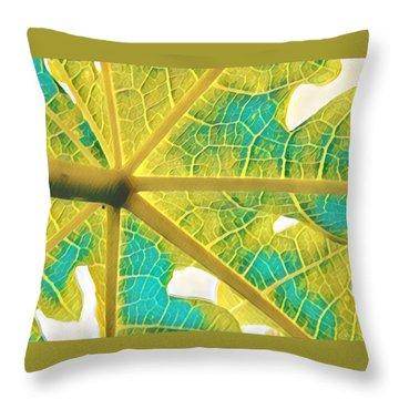 Puna Papaya Leaf Throw Pillow