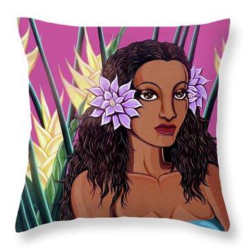 Punaluu Girl Throw Pillow by Tara Hutton