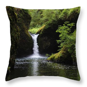 Punchbowl Falls Signed Throw Pillow