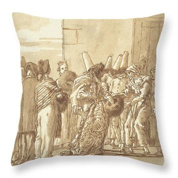 Punchinello's Father Brings Home His Bride Throw Pillow