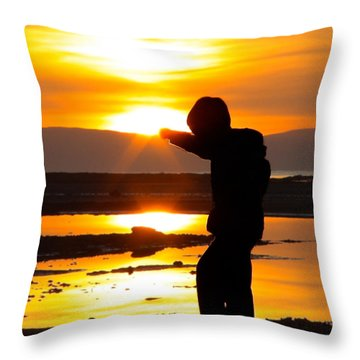Punching The Sun Throw Pillow by RKAB Works