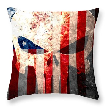 Punisher Themed Skull And American Flag On Distressed Metal Sheet Throw Pillow