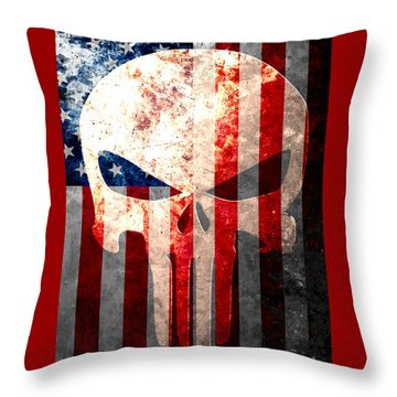 Punisher Skull And American Flag On Distressed Metal Sheet Throw Pillow