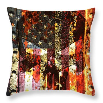 Punisher Skull On Rusted American Flag Throw Pillow