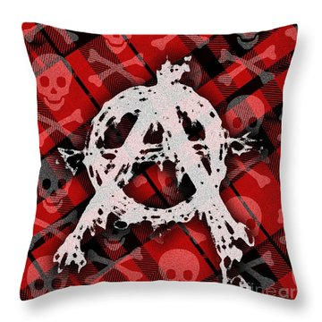 Punk Anarchy Throw Pillow by Roseanne Jones
