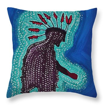 Punk Shaman Original Painting Throw Pillow