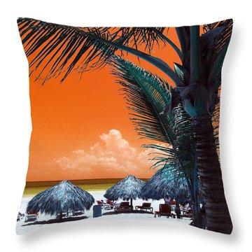 Throw Pillow featuring the photograph Punta Cana Pop Art by John Rizzuto