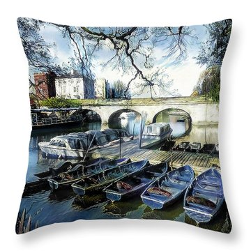 Throw Pillow featuring the digital art Punting On The Thames by Pennie McCracken