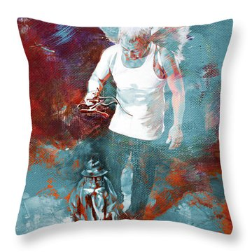 Throw Pillow featuring the painting Puppet Man 003 by Gull G